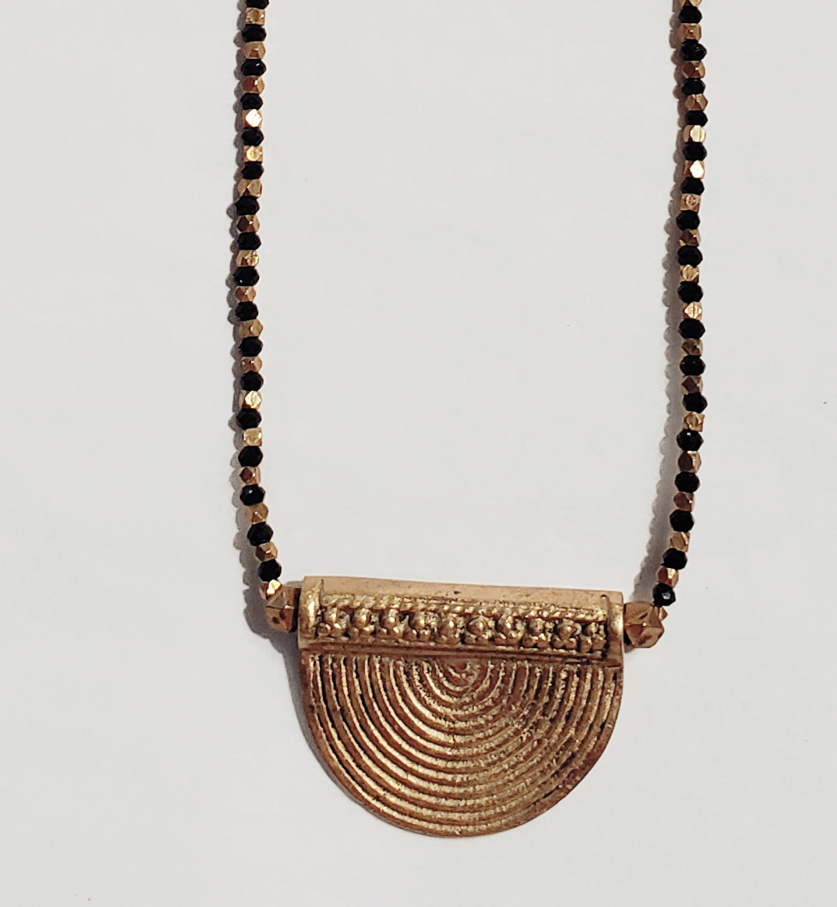 HALF MOON BRASS NECKLACE