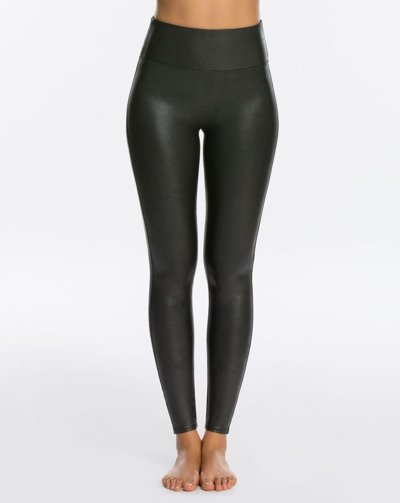 BLACK FAUX LEATHER SPANX LEGGINGS