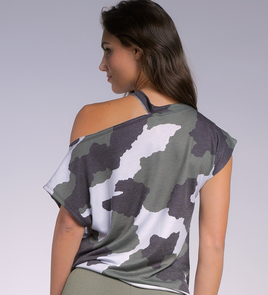 CAMO TEE SPLIT SHOULDER