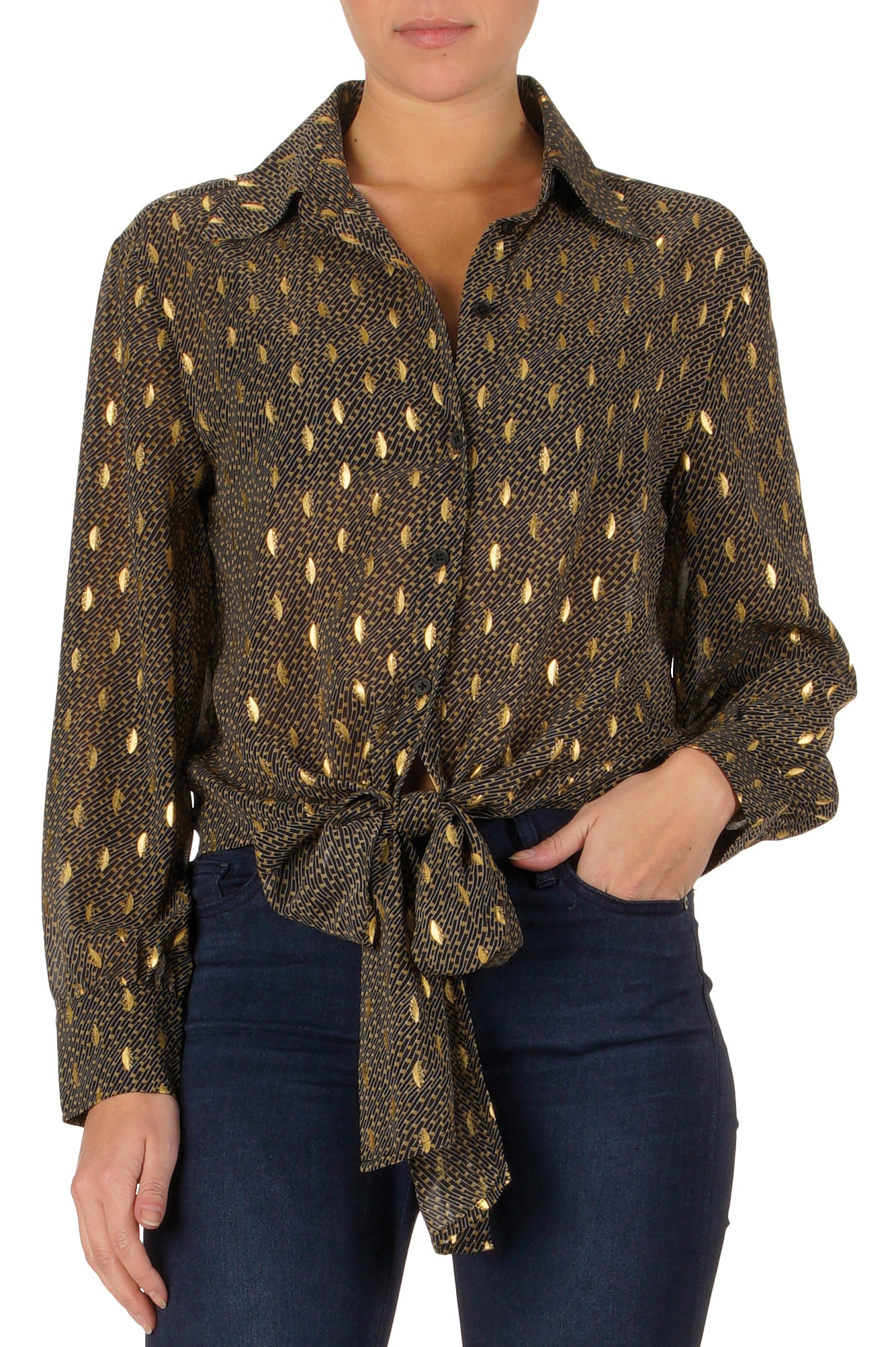 BLACK GOLD PRINTED TOP