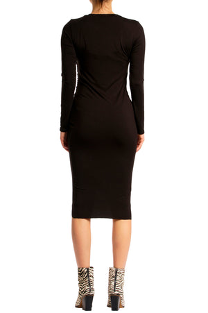 RUCHED LONG SLEEVE DRESS