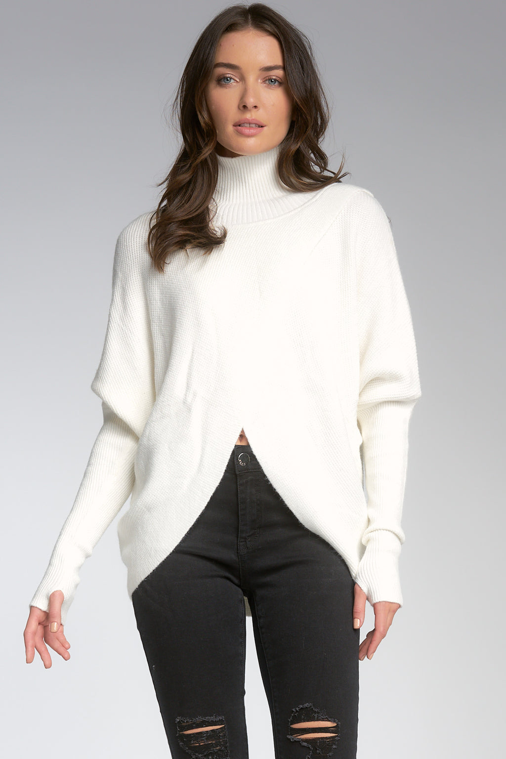 WHITE CROSS FRONT SWEATER