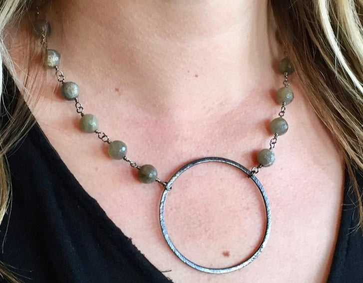 Labradorite Circle Necklace