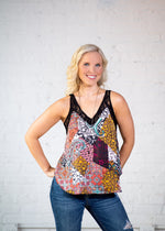 Printed Tank with Lace Detail