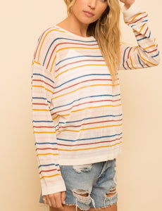 MULTI COLOR STRIPED KNIT TOP