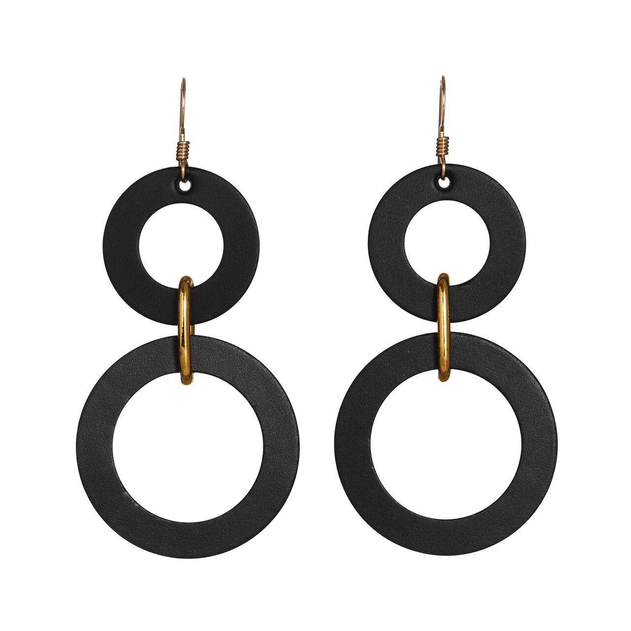 DBL CIRCLE LEATHER EARRINGS-BLACK