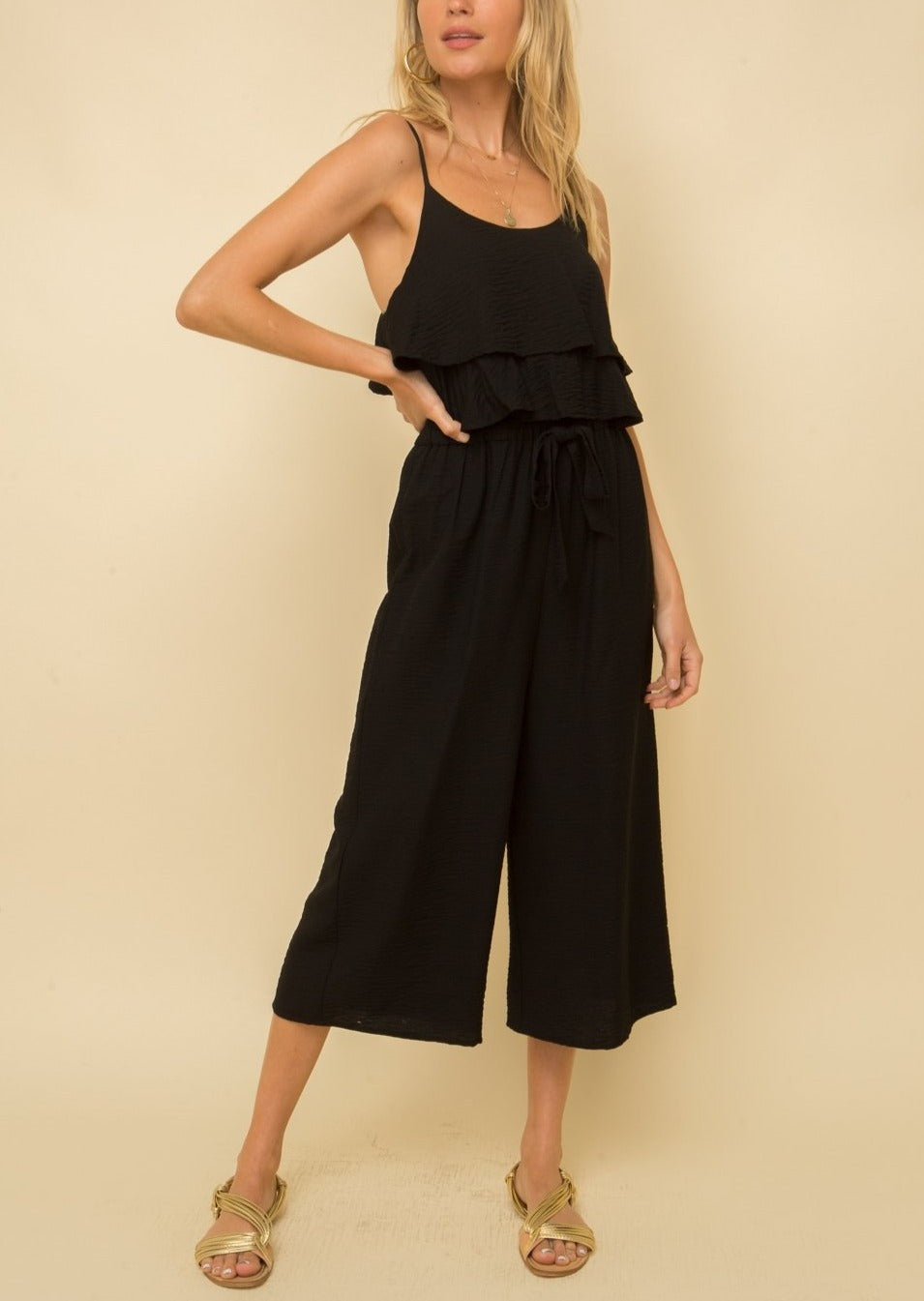CROPPED RUFFLE JUMPSUIT BLACK