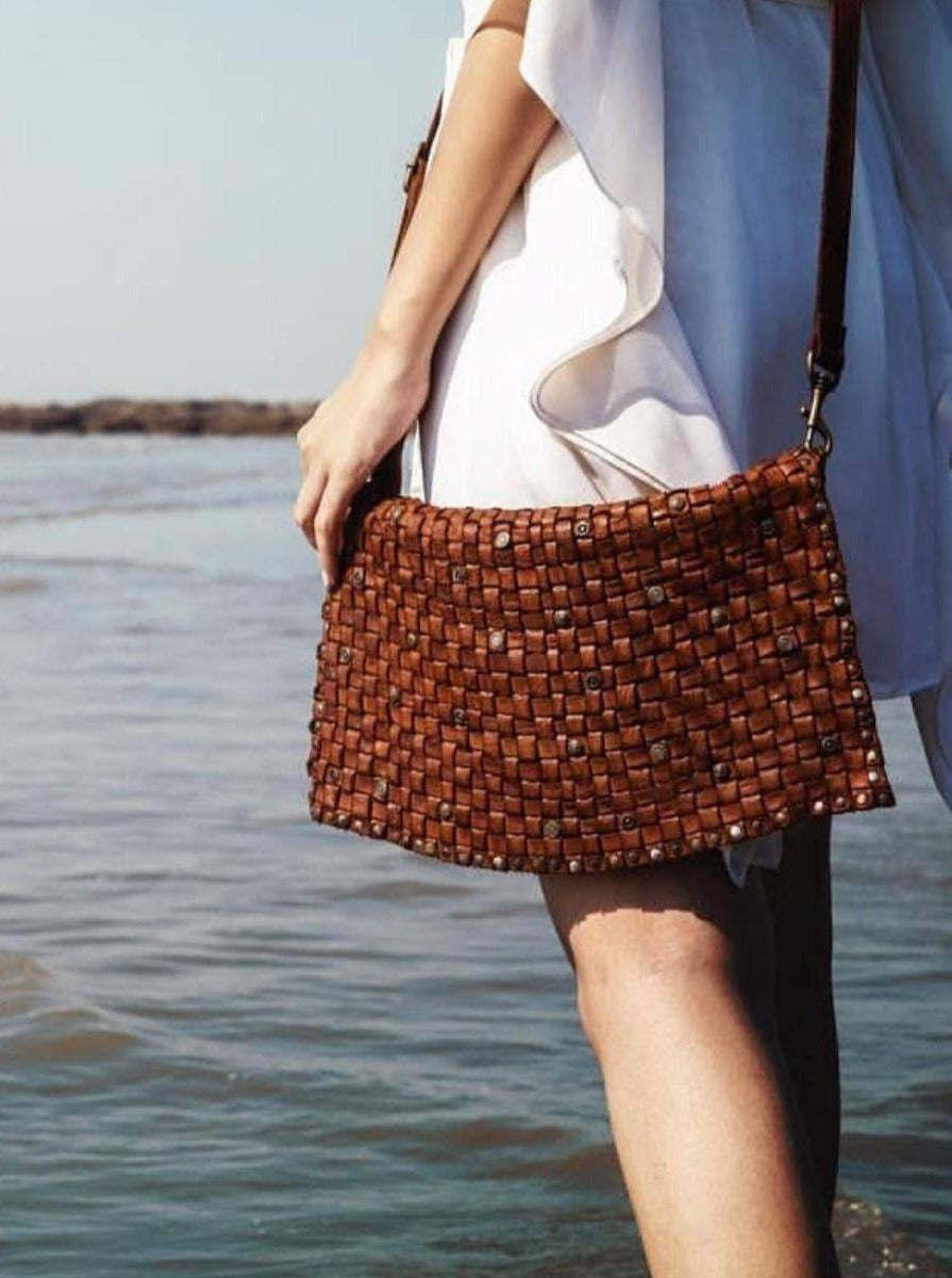 COGNAC LEATHER WEAVED BAG