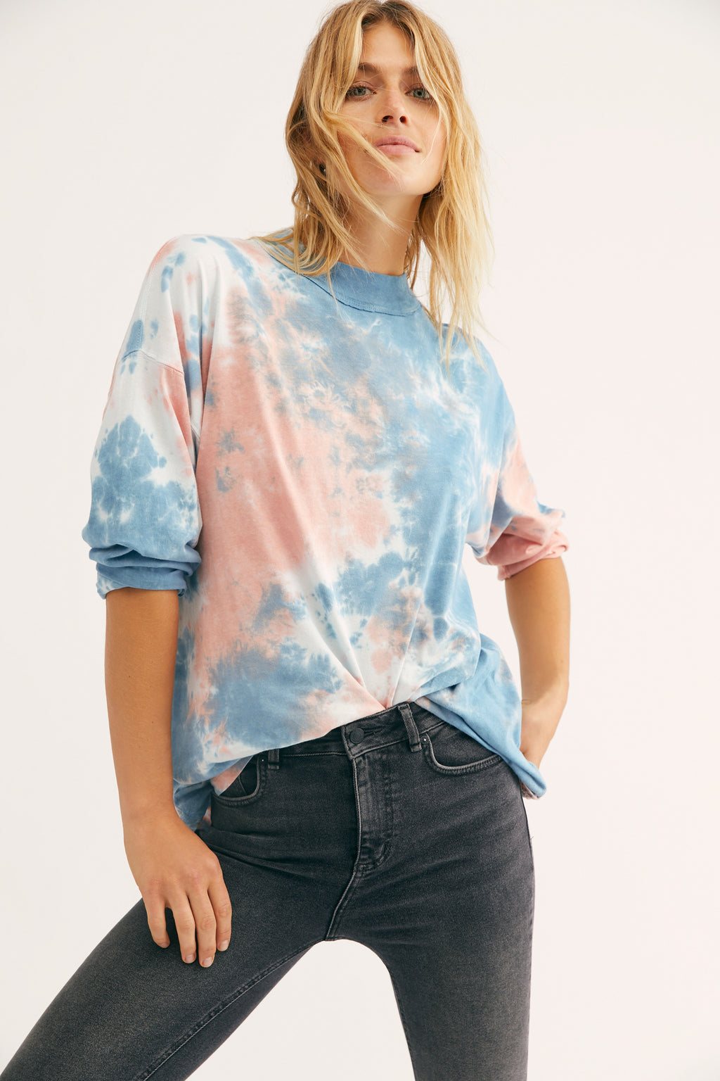 BE FREE TIE DYE TEE-COTTON CANDY
