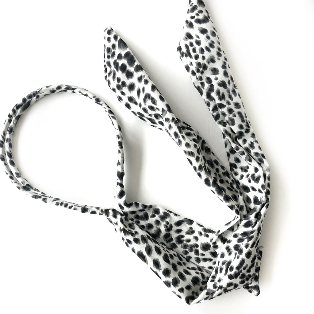ANIMAL PRINT HEADBAND WITH TIES (more colors avail)