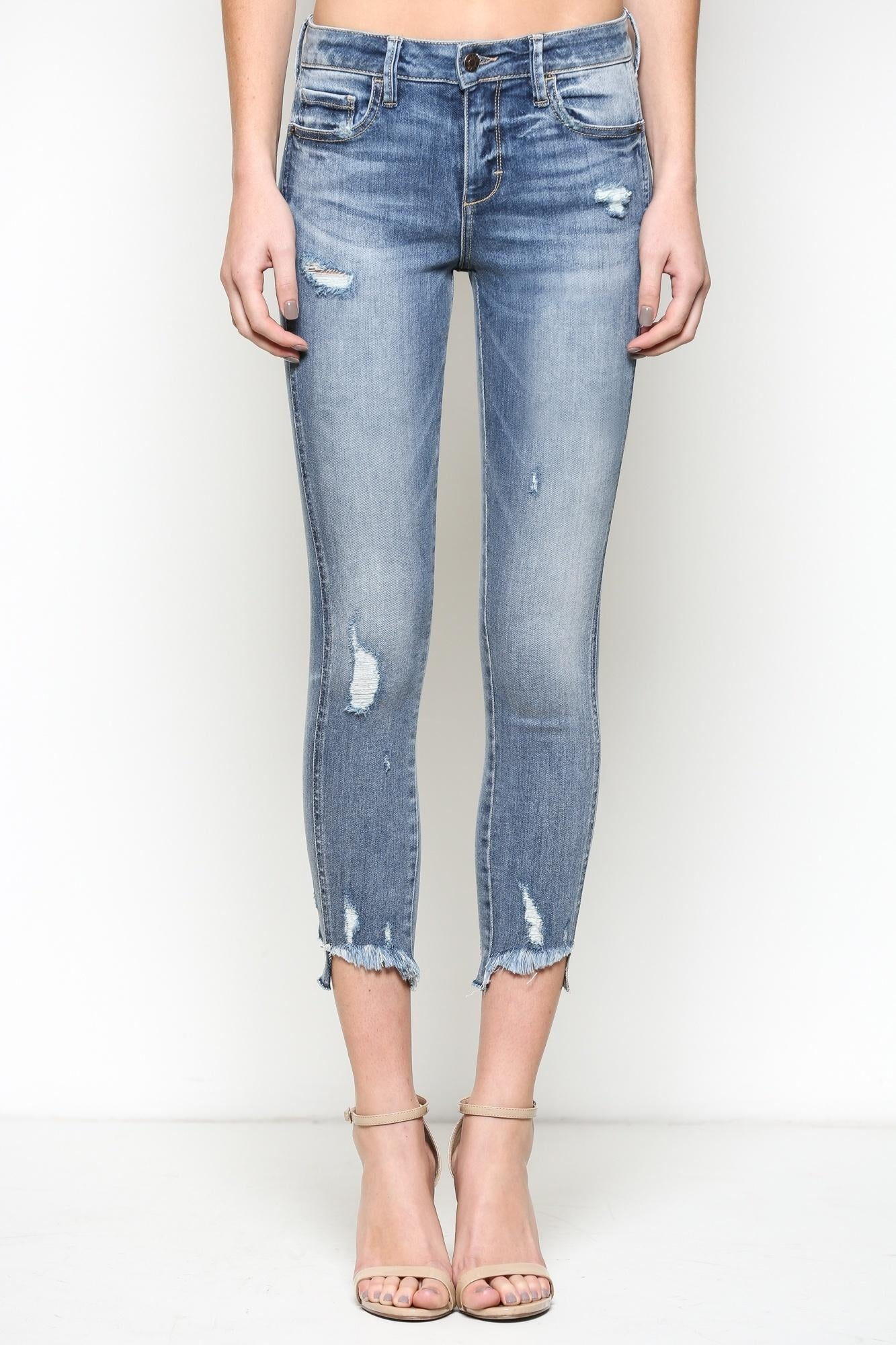 MID RISE DISTRESSED CROPPED DENIM