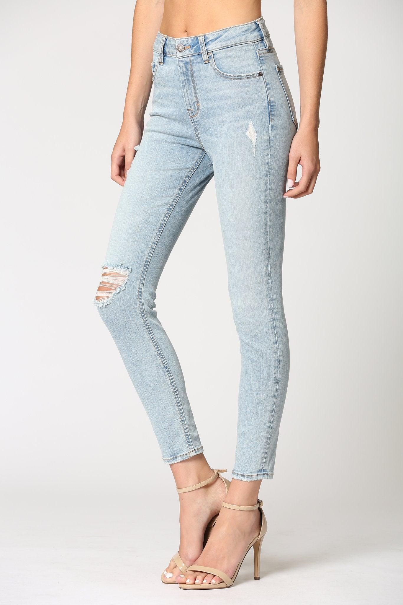 LIGHT WASH HIGH RISE SKINNY DENIM