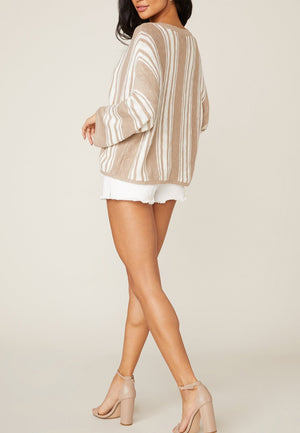 TAKE A STRIPE CARDIGAN SWEATER