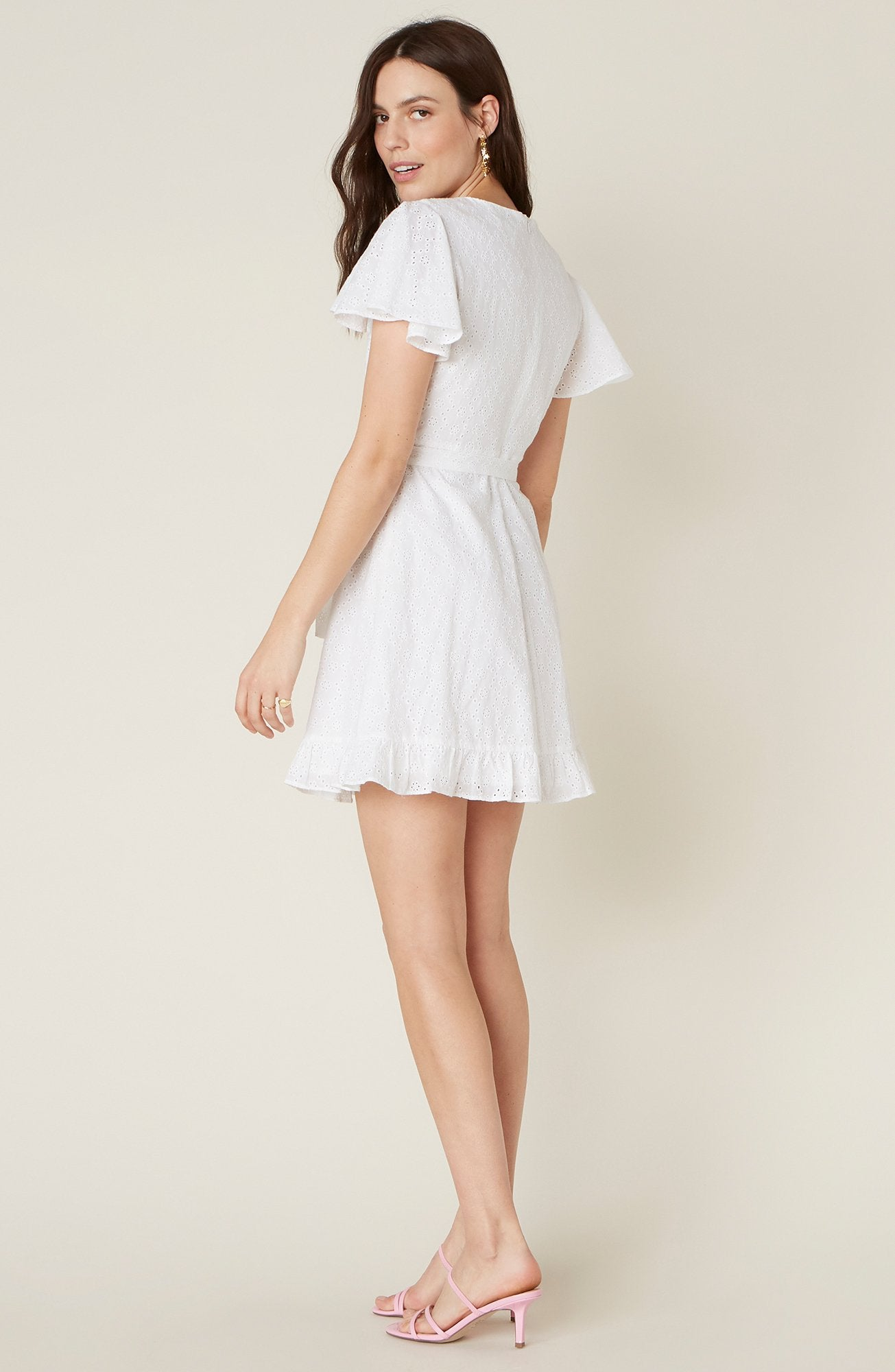 EASY ON THE EYELET WRAP DRESS