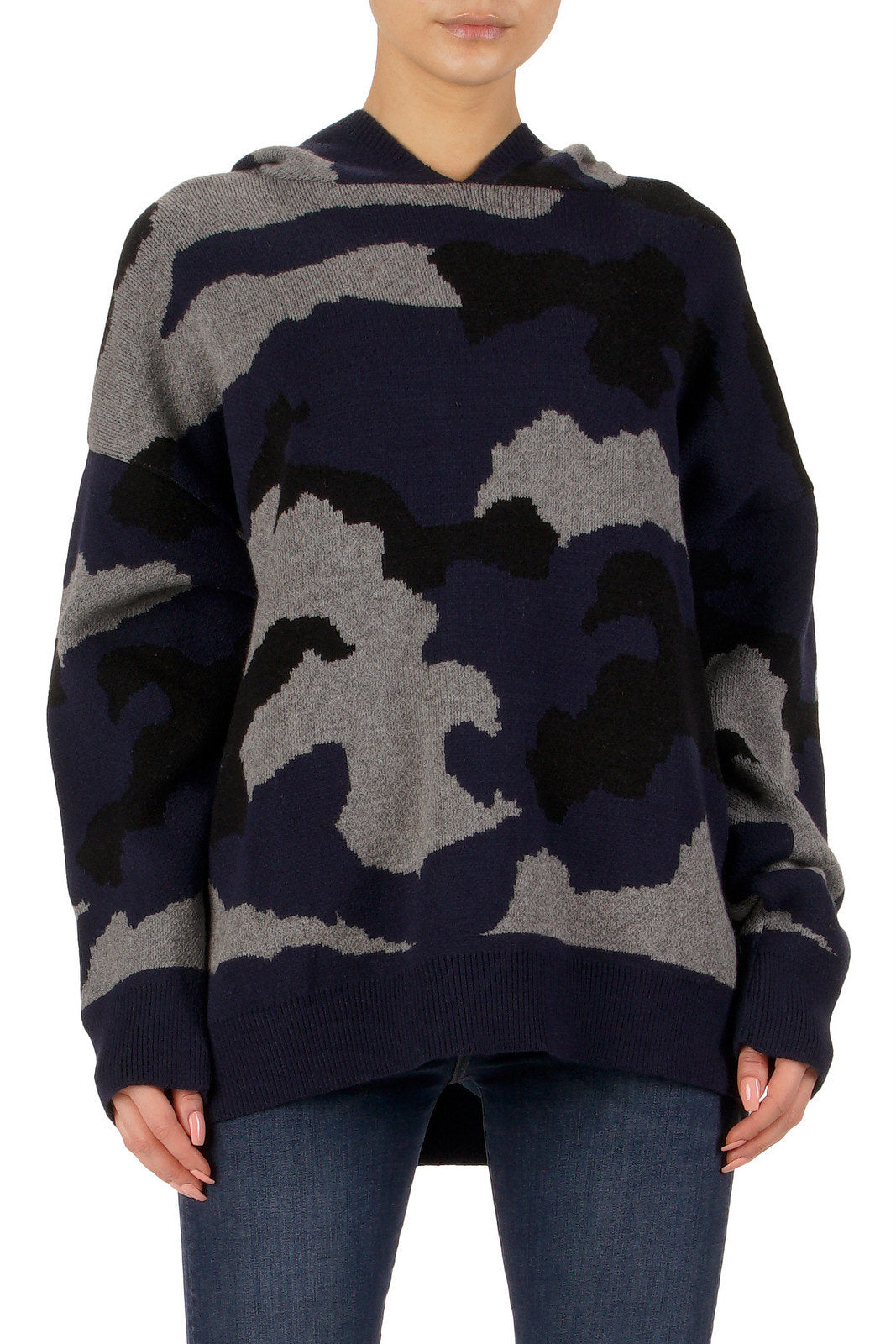 NAVY/BLK HOODED SWEATER