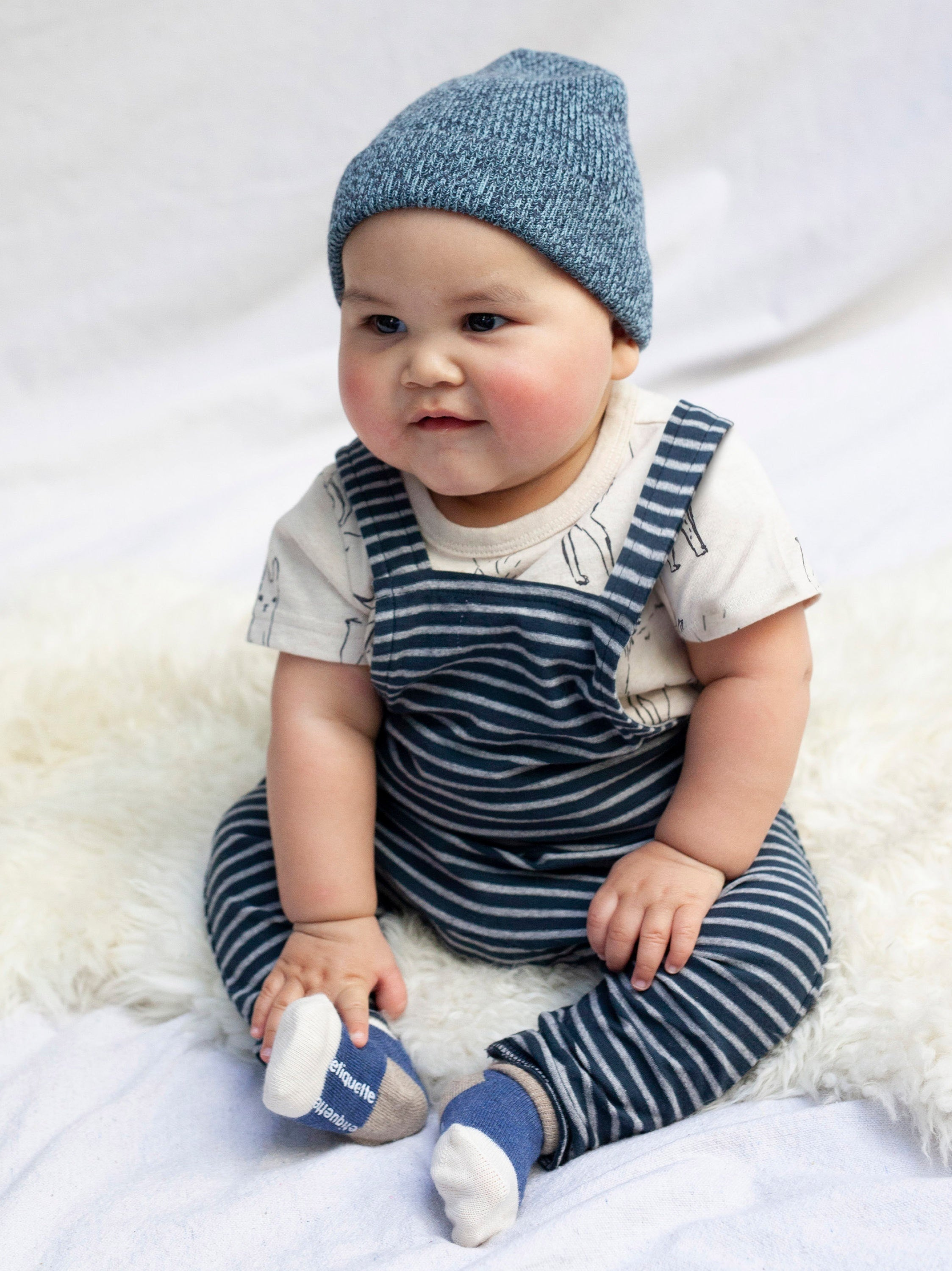 STRIPED OVERALL SET