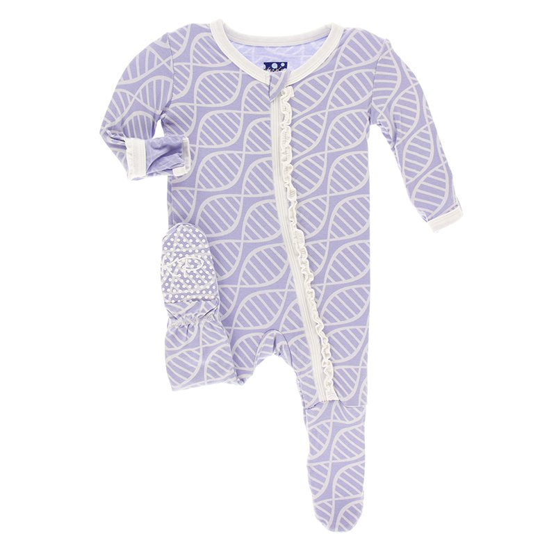 PRINTED FOOTIE LILAC DBL HELIX W/RUFFLE