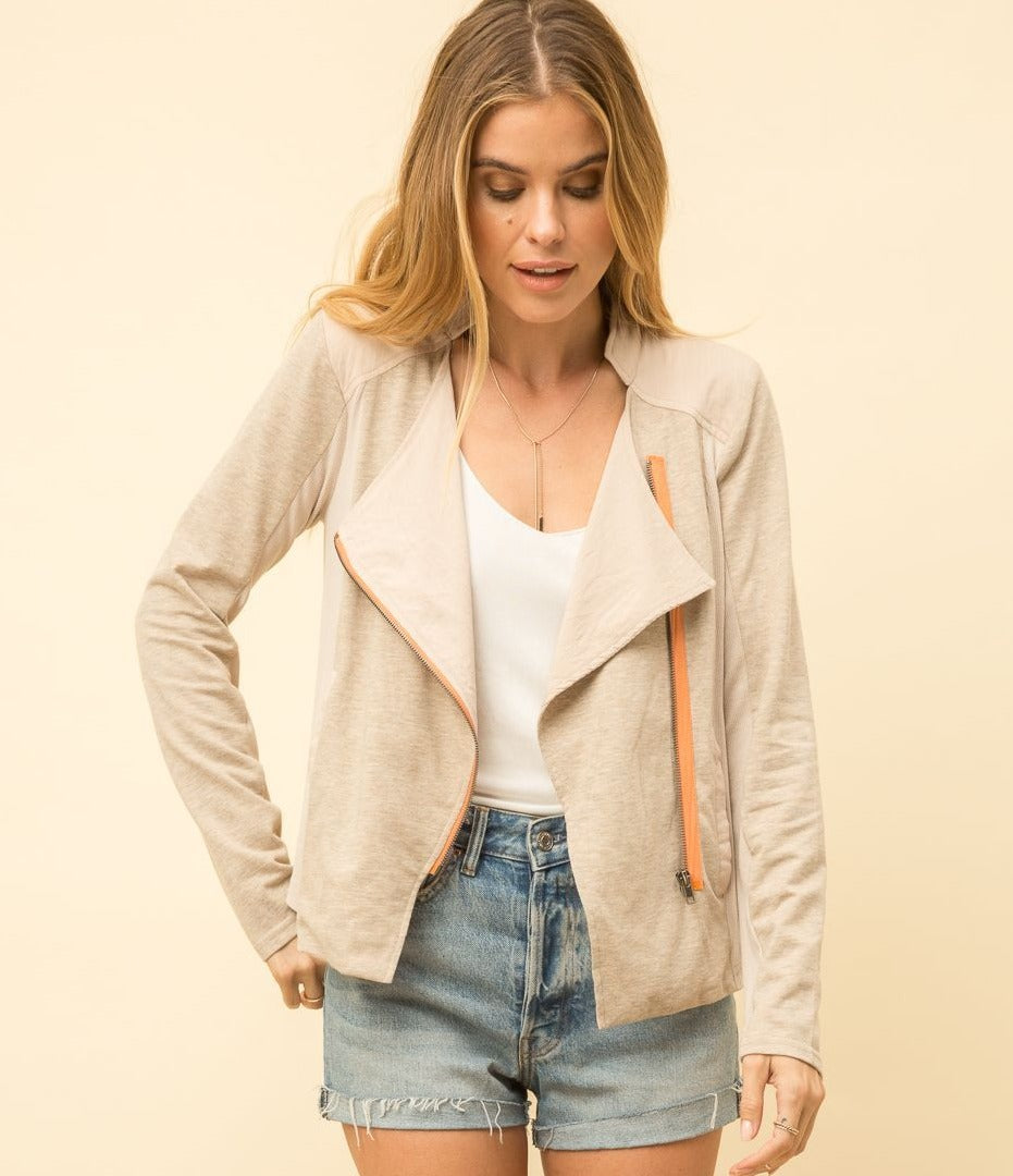 TAN DRAPE FRONT JACKET