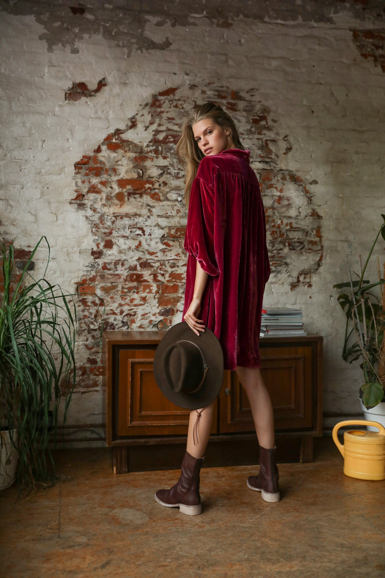 LUX VELVET SHIRT DRESS