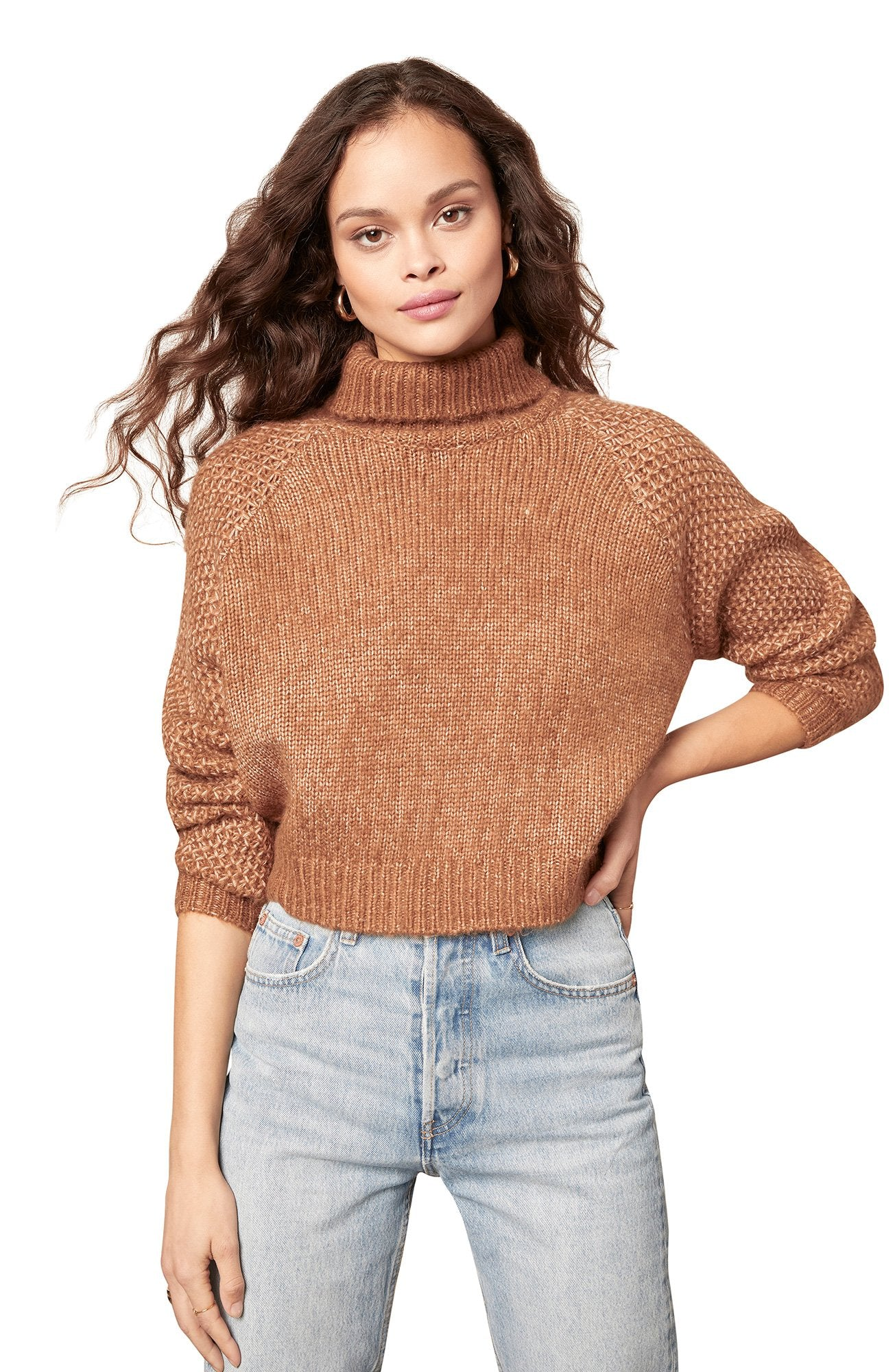 WING SWEATER- DRK CAMEL