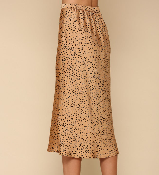 ANIMAL PRINT SATIN MIDI SKIRT