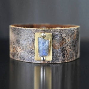 Labradorite Brown Leather Cuff