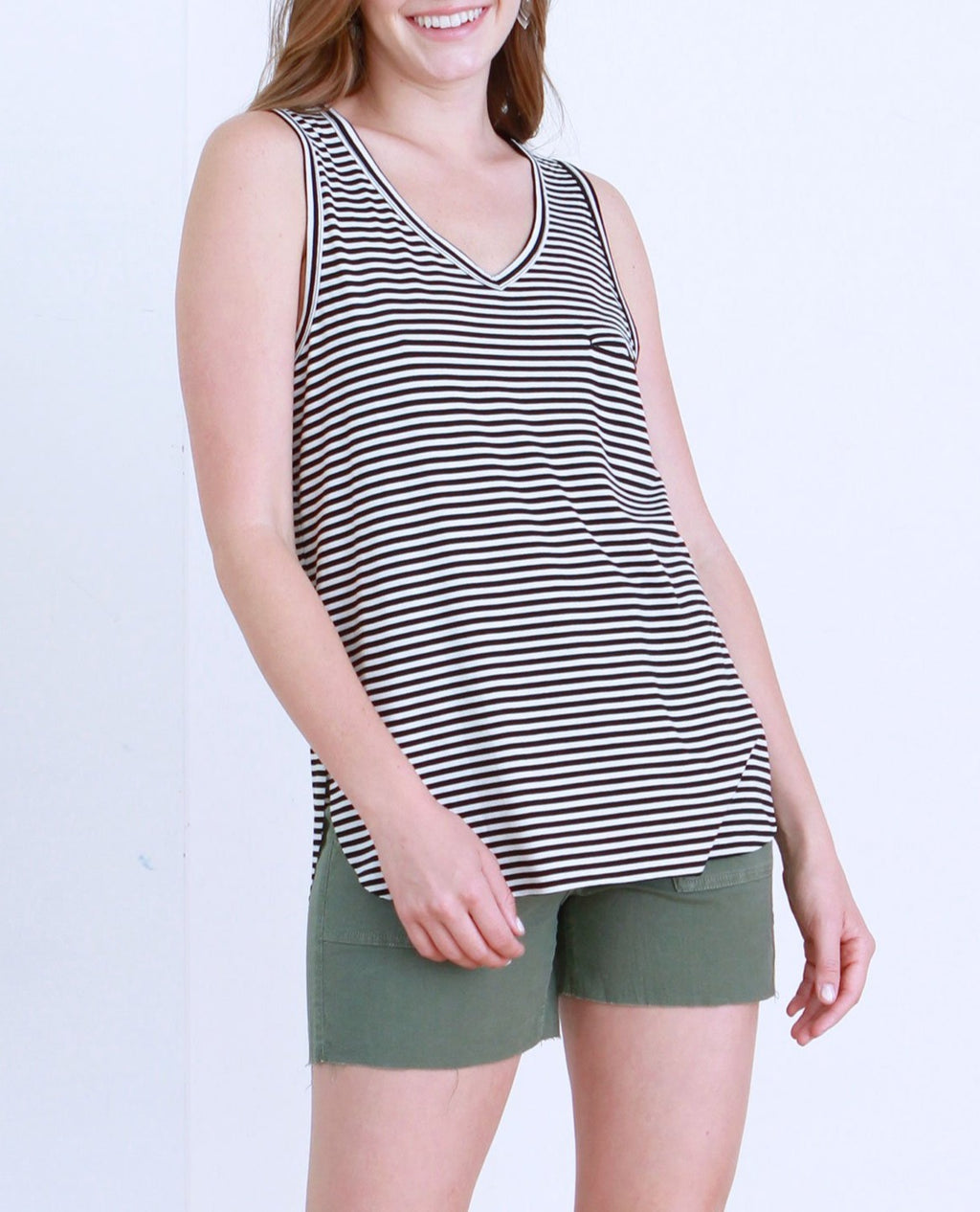 BLACK WHITE STRIPED TANK