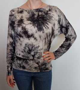 BLACK GREY TIE DYE DOLMAN TOP
