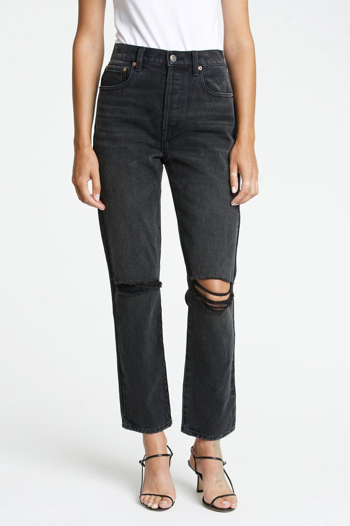 KEATON HIGH RISE SLIM STRAIGHT-BLACK