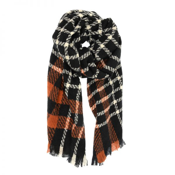 PLAID SCARF-ORANGE BLACK