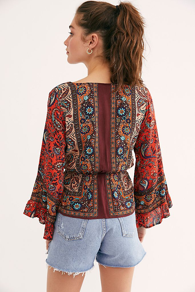 RED ROSALIE WRAP TOP