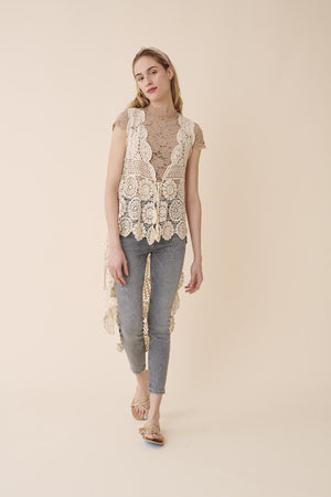 HIGH LOW LACE CROCHET VEST