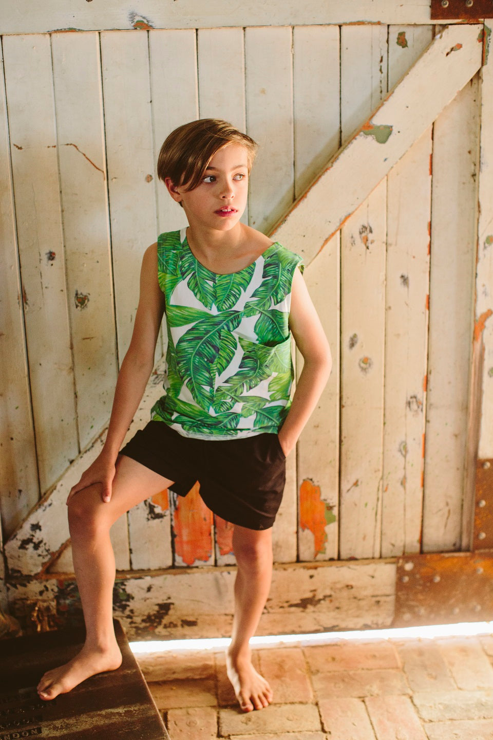 Large Pocket Tank – Leaf Print