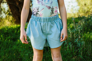 Side High Shorts - Chambray