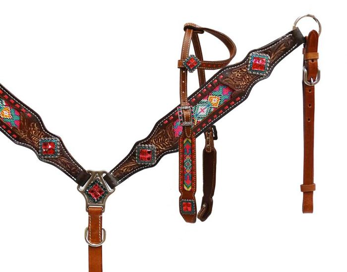 Pink/Multi-Color Beaded Inlay Tack Set