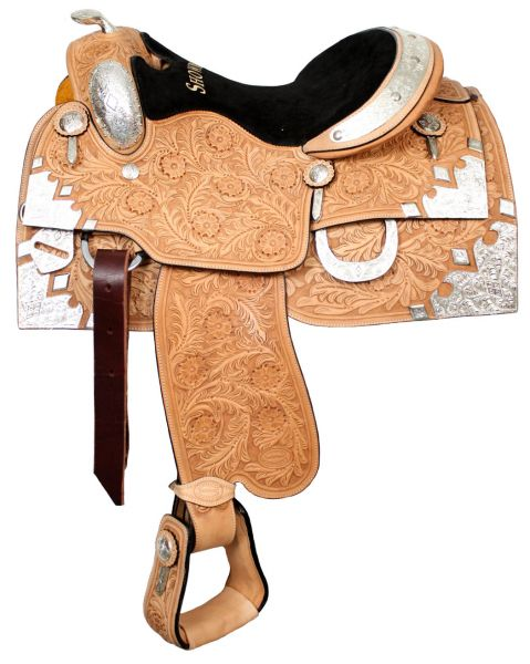 "16"" Tooled Silver Horn Show Saddle"