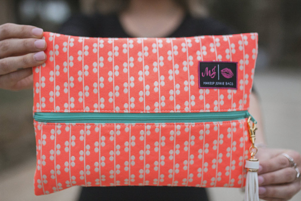 Coral Crush Makeup Junkie Bag