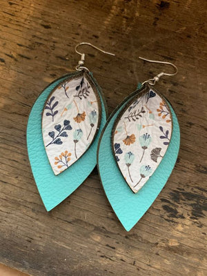 Turquoise Poppy Double Layered Leather Earrings