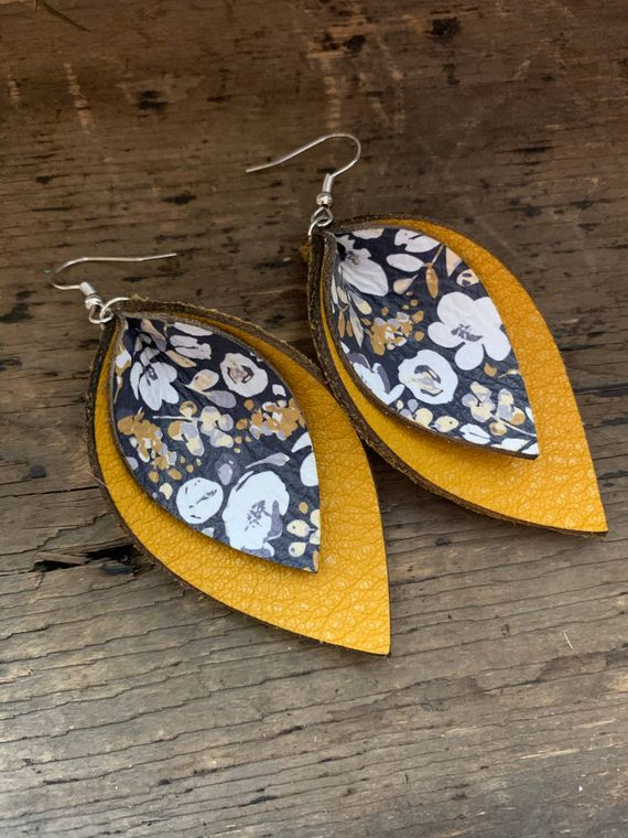 Mustard and Blue Poppy Double Layered Leather Earrings
