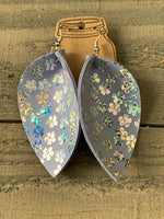 Periwinkle Blue Leather Earrings with Holographic Flowers