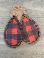 Wood Teardrop Earrings with Red and Black Buffalo Plaid