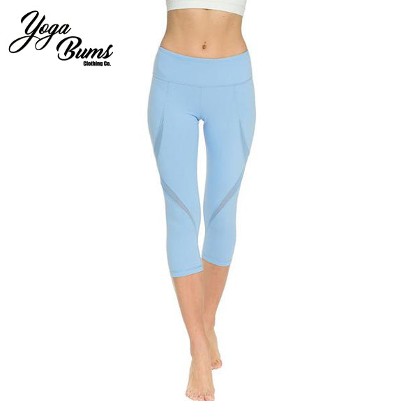 [YB ESSENTIAL] - High Quality Yoga Pants High Waist 3/4 length (Blue)