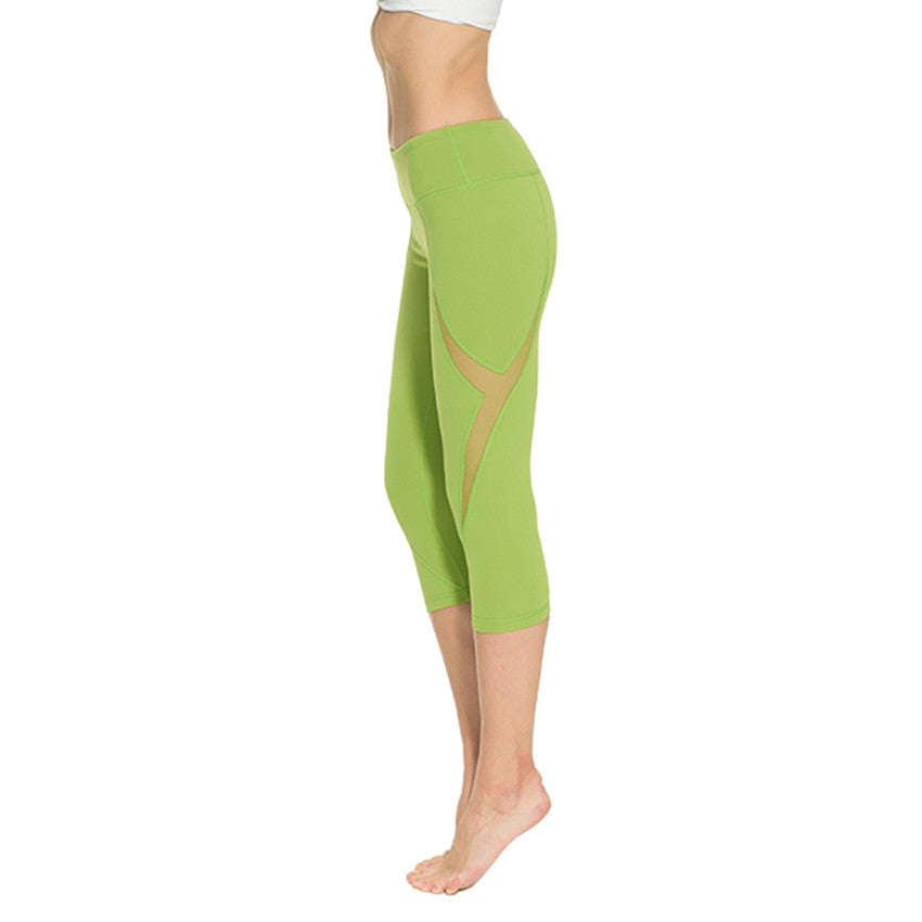 [YB ESSENTIAL] - High Quality Yoga Pants High Waist 3/4 length (Green)