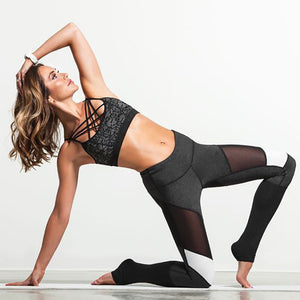 [YB ESSENTIAL] - High Waist Yoga Pants With Mesh And White Patch Design