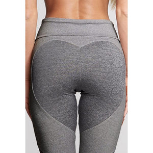 [iHeart] - THE ORIGINAL HEART-MESH LEGGINGS (LIGHT GREY WITH DARK GREY HEART)