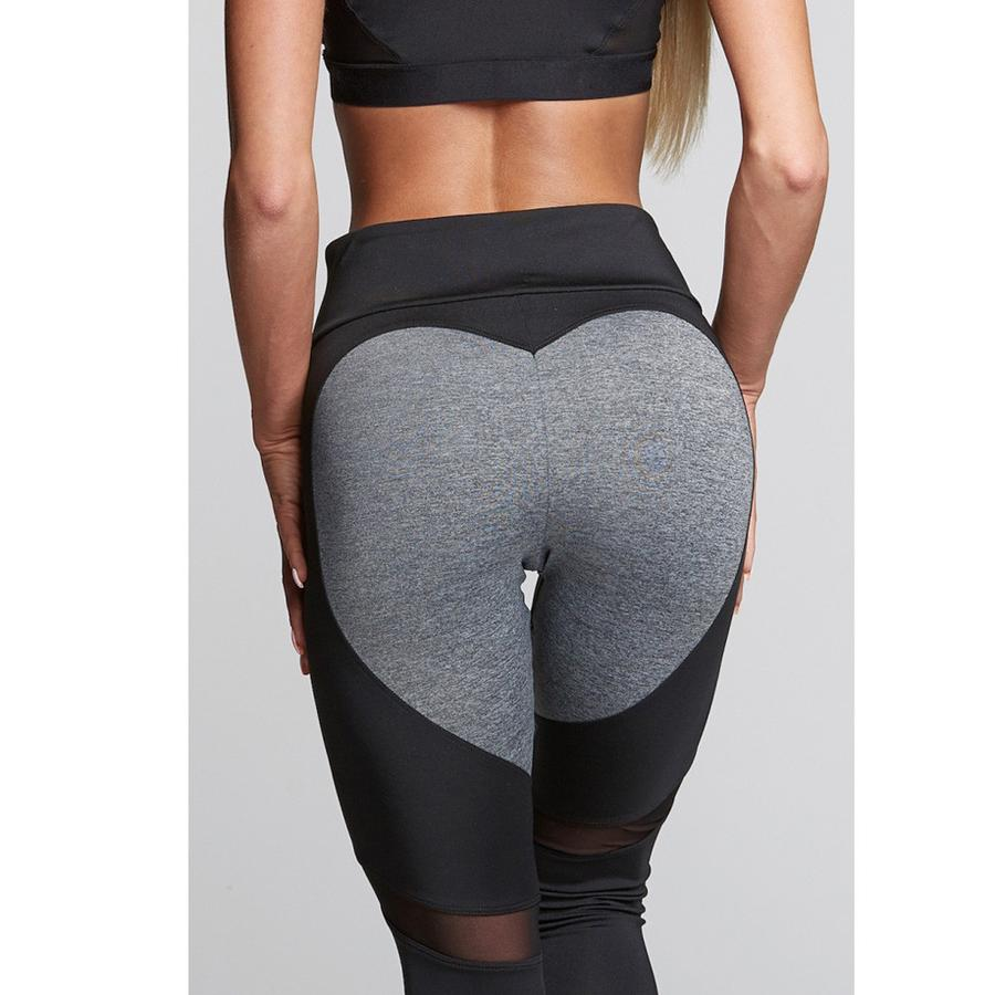 [iHeart] - THE ORIGINAL HEART-MESH LEGGINGS (BLACK WITH DARK GREY HEART)