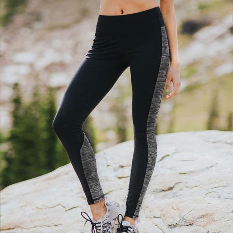 [YB ESSENTIAL] - Black With Grey Inserts Comfort Fit Yoga Leggings