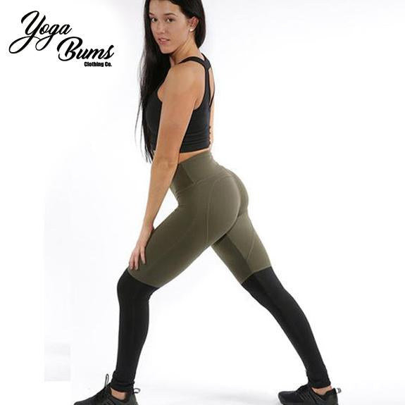 [iHeart] - Seamless  Olive Green Heart Compression Leggings