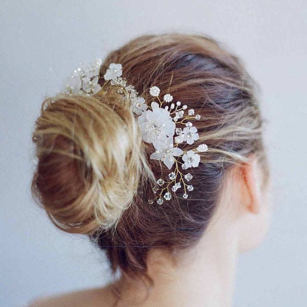 ABBEY | Floral Bridal Comb with Crystals & Pearls - The Luxe Bride Co