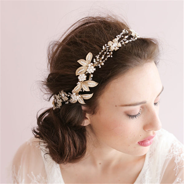 ABIGAIL | Gold Leaf & Crystal Headband - The Luxe Bride Co